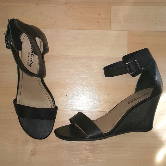 510631b25df Kenneth Cole Reaction Shoes - Fancy black ankle strap wedge sandal wedding  shoe